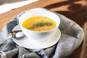 Recept za bučno juho. Recipe for a pumpkin soup.